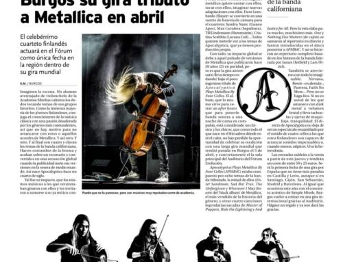 APOCALYPTICA llegan a Burgos y los medios se hacen eco de la noticia.